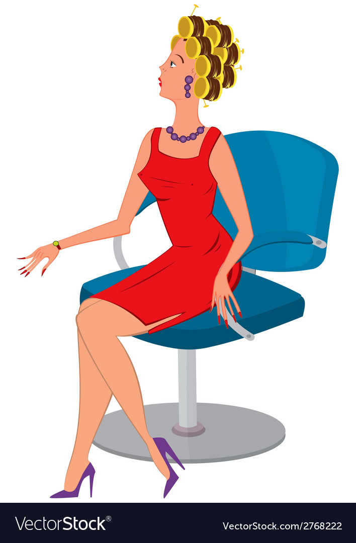 Cartoon woman in red dress and hair rollers