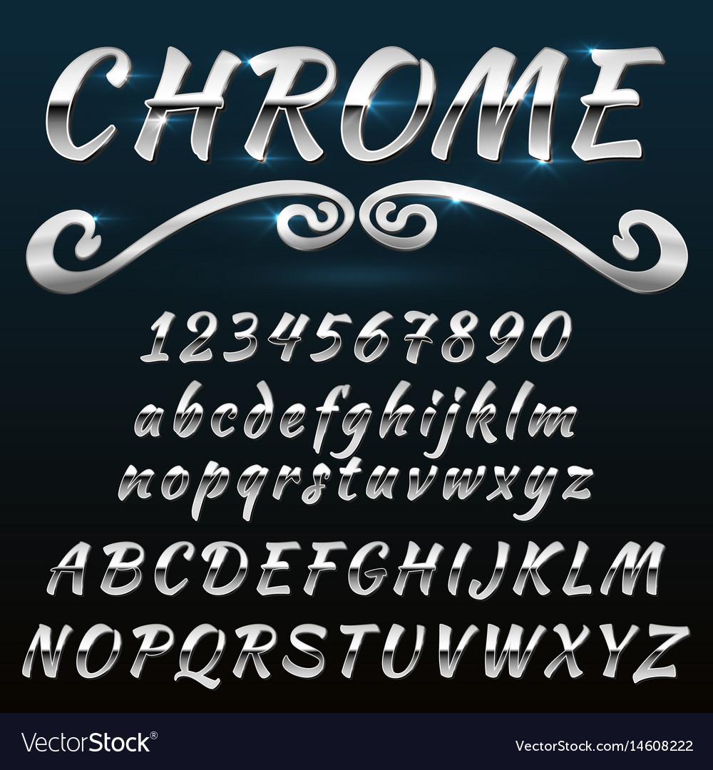 Chrome shiny retro vintage font typeface mado