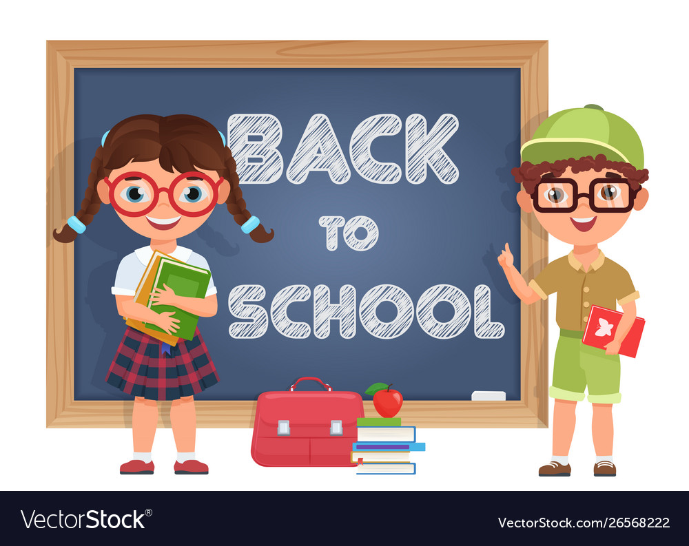 Cute boy and girl kids back to school isolated