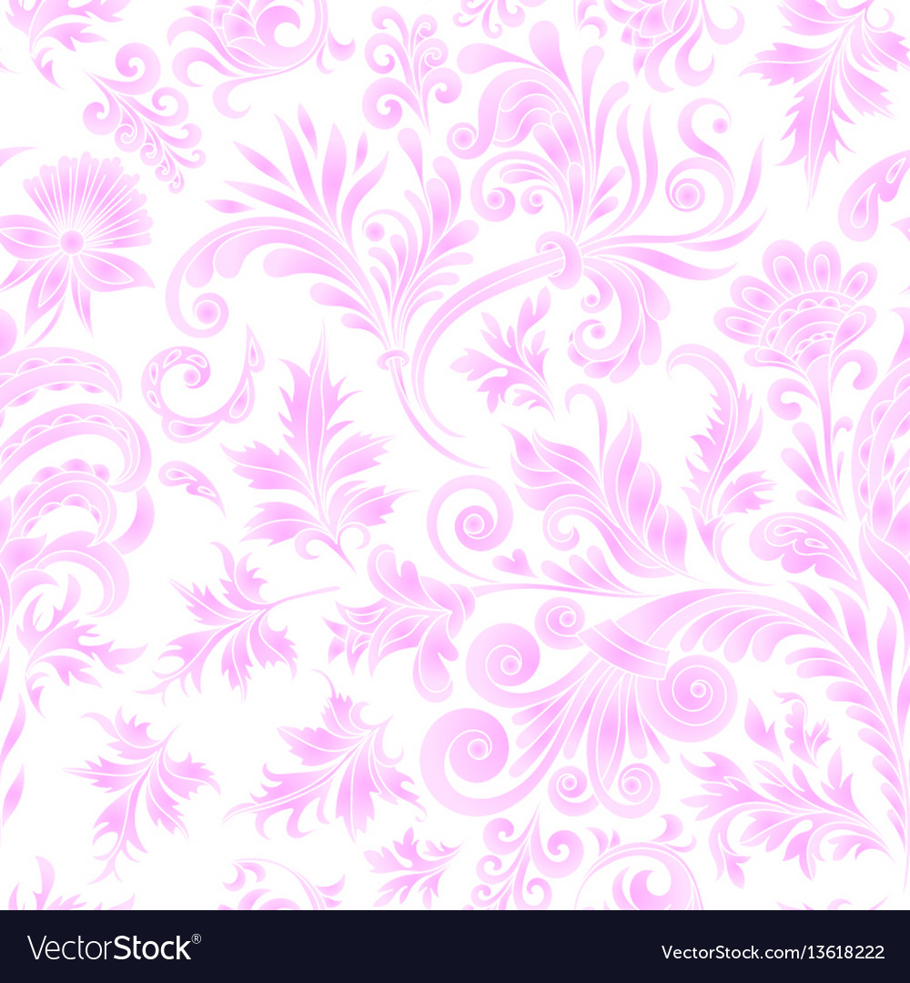 Doodle paisley seamless pattern gradient floral