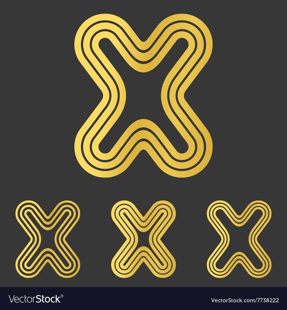 Golden x letter logo design set