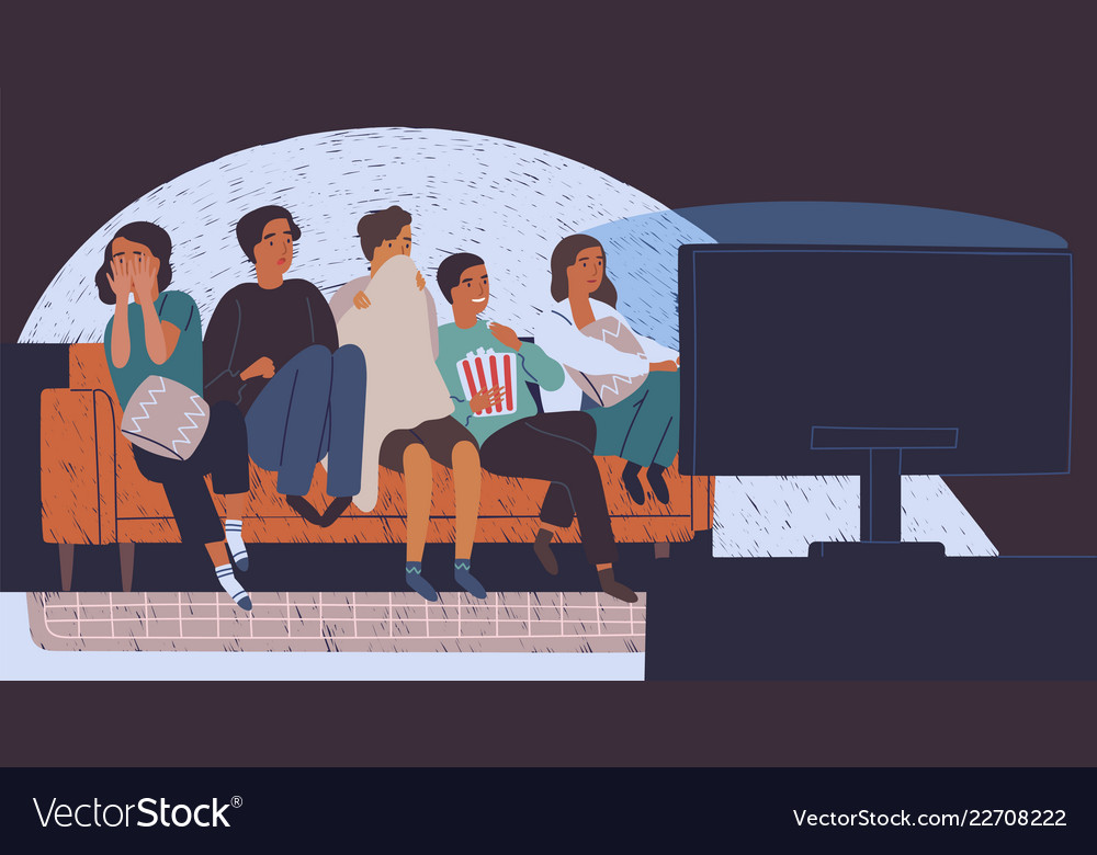 Group Of Friends Sitting On Sofa Or Couch In