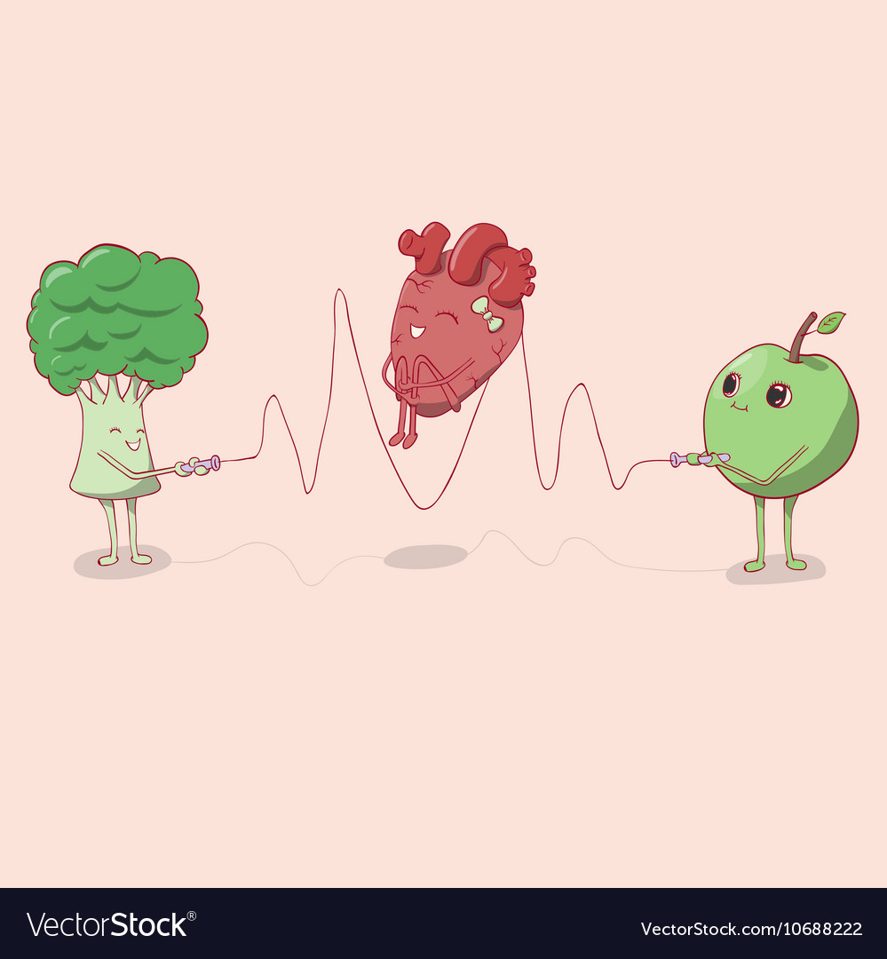 Heart jumping rope that held the apple and