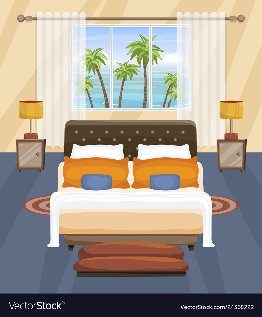 Hotel Bedroom Flat Interior Design Tropical Vector Image