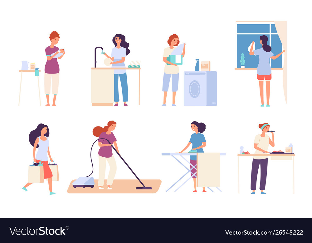 Housewives woman housewife doing housework happy
