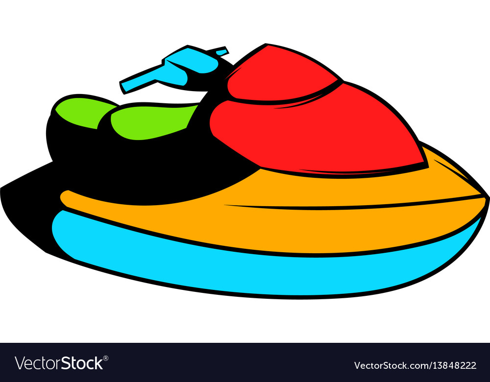 Jet Ski Water Scooter Icon Icon Cartoon Royalty Free Vector