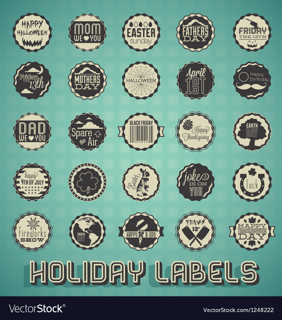 Mix of Holiday Labels and Icons
