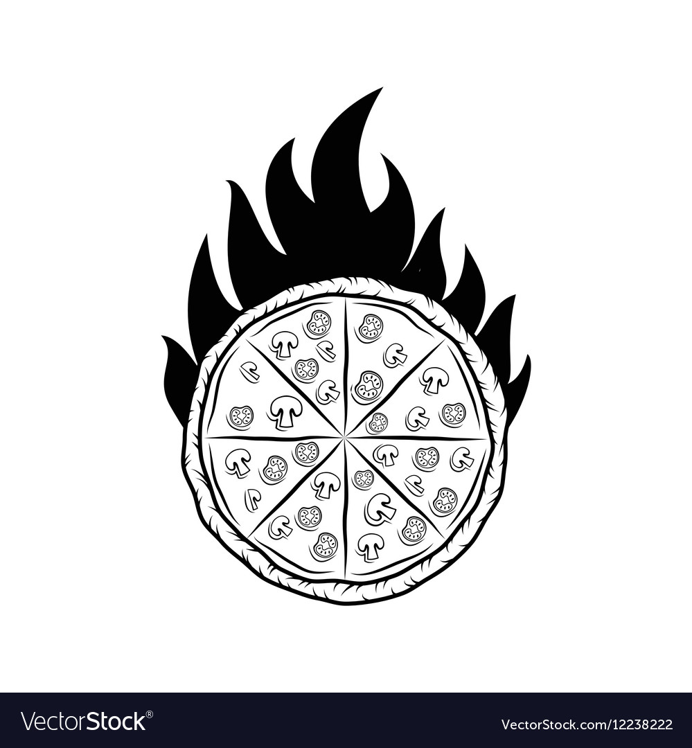 Pizza Silhouette Fire Badge Isolated On White