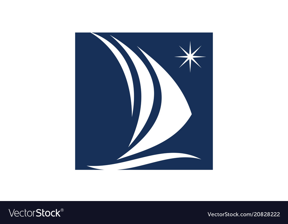 Sailboat Logo Design Template Vector Image