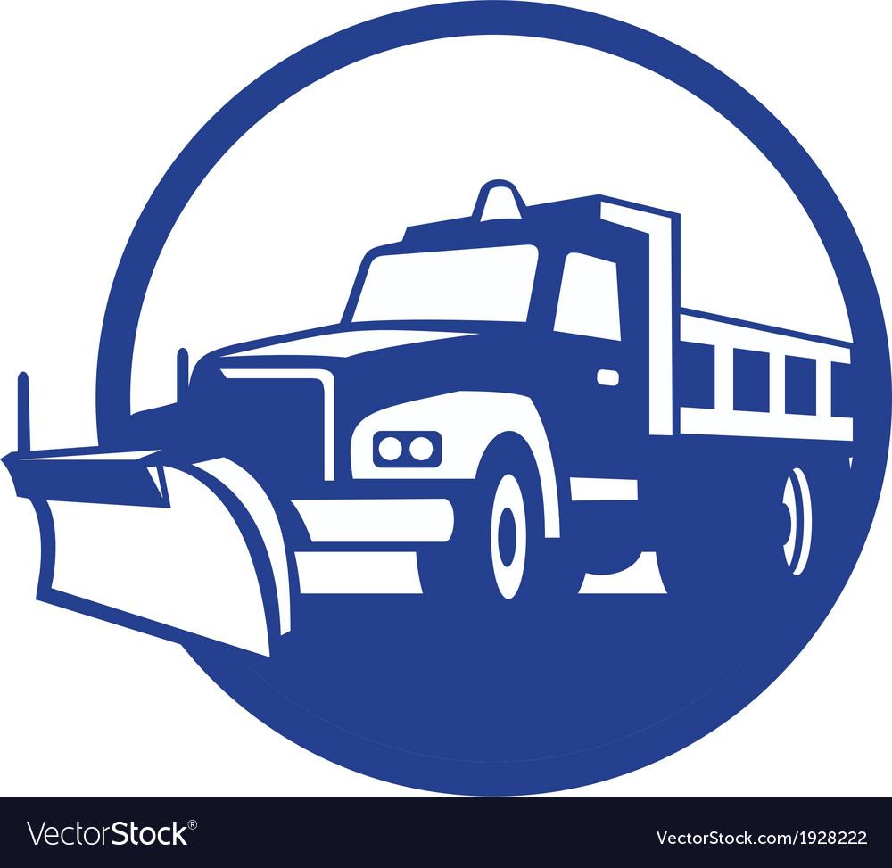 Snow Plow Truck Circle Retro Royalty Free Vector Image
