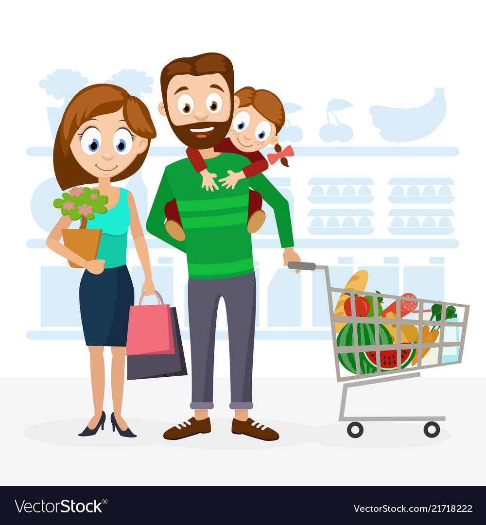 Young family dad mom and daughter in the