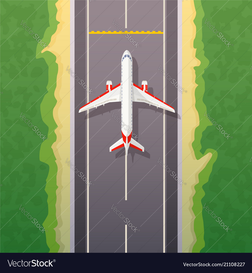Airplane on road landing travel by