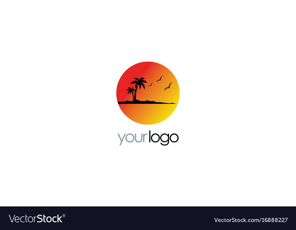 Beach Sunset Palm Tree Logo Royalty Free Vector Image
