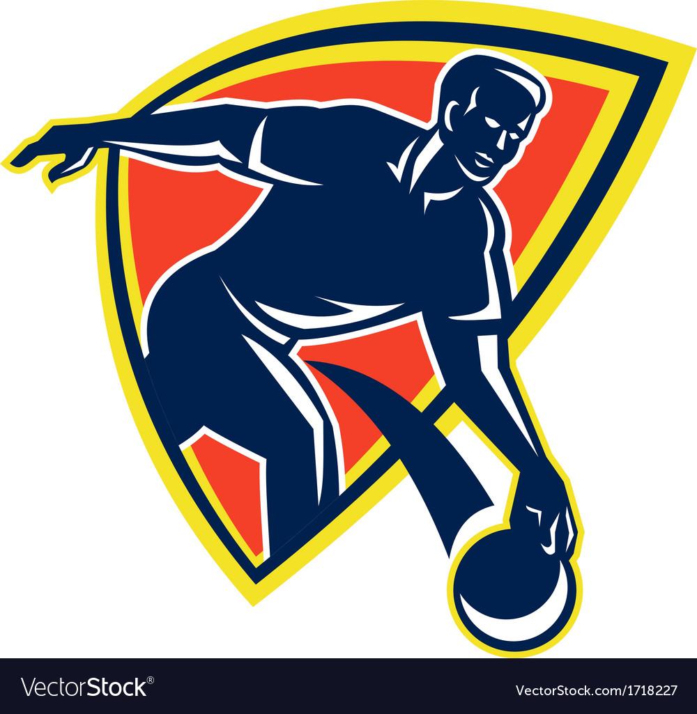 Bowler Throw Bowling Ball Shield Retro vector image