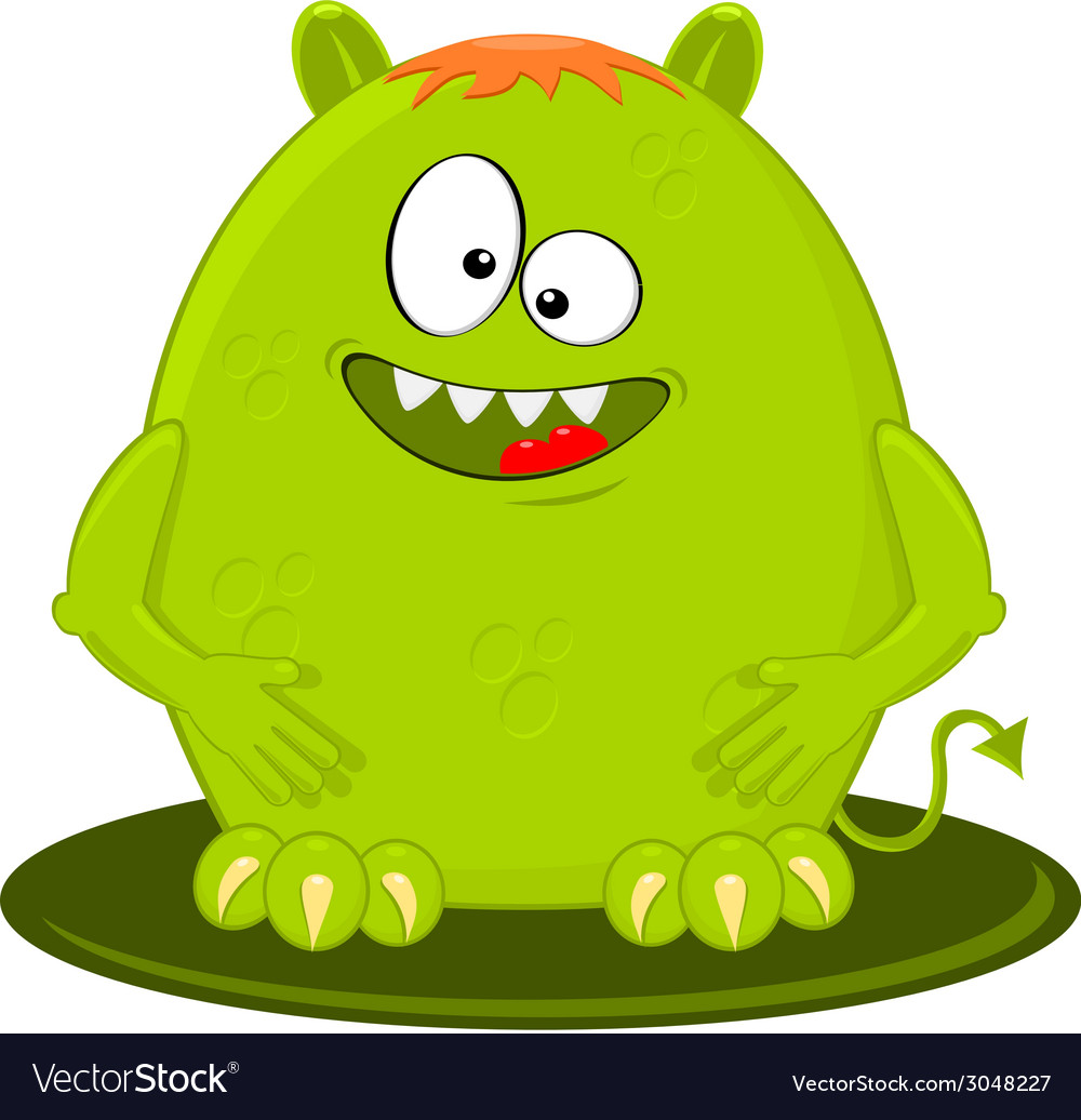 Cartoon Of Funny Green Monster Alien