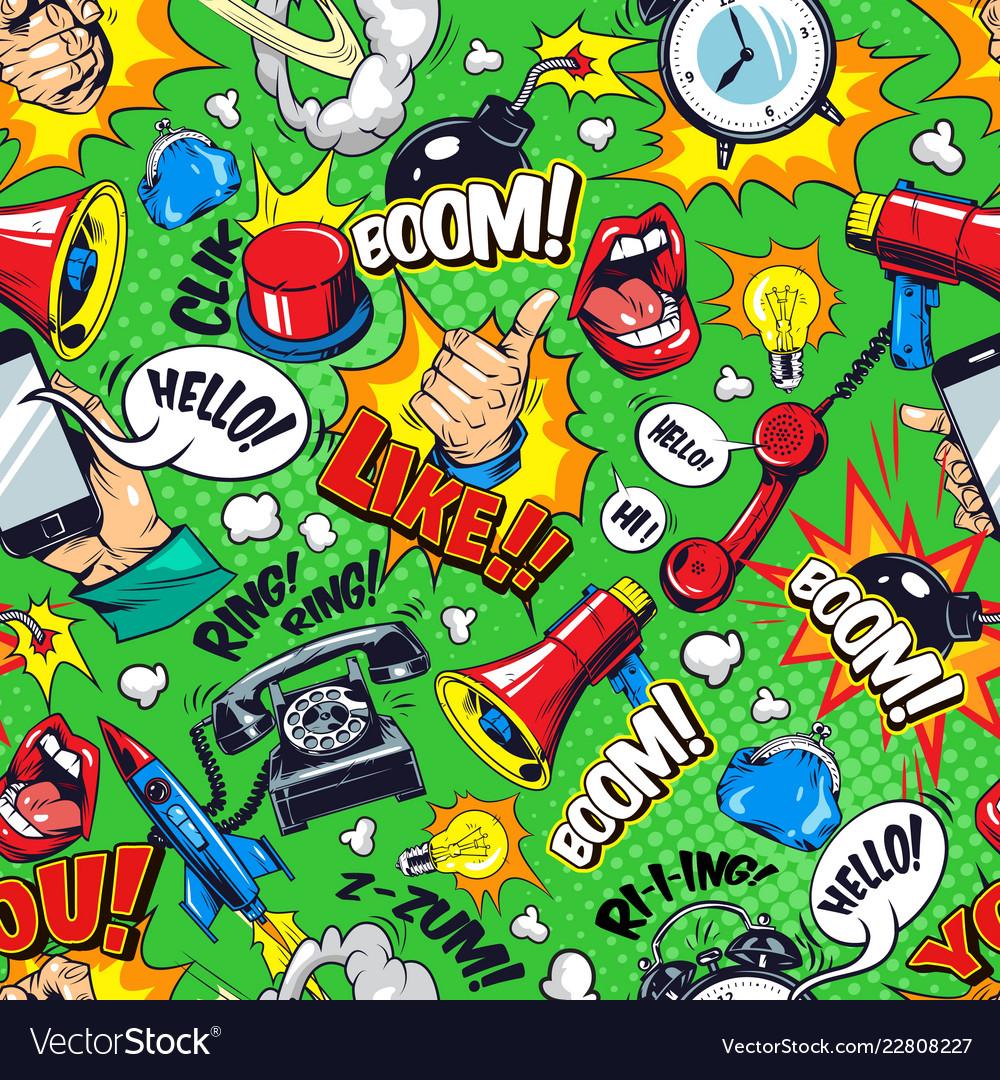 Colorful comic bright seamless pattern