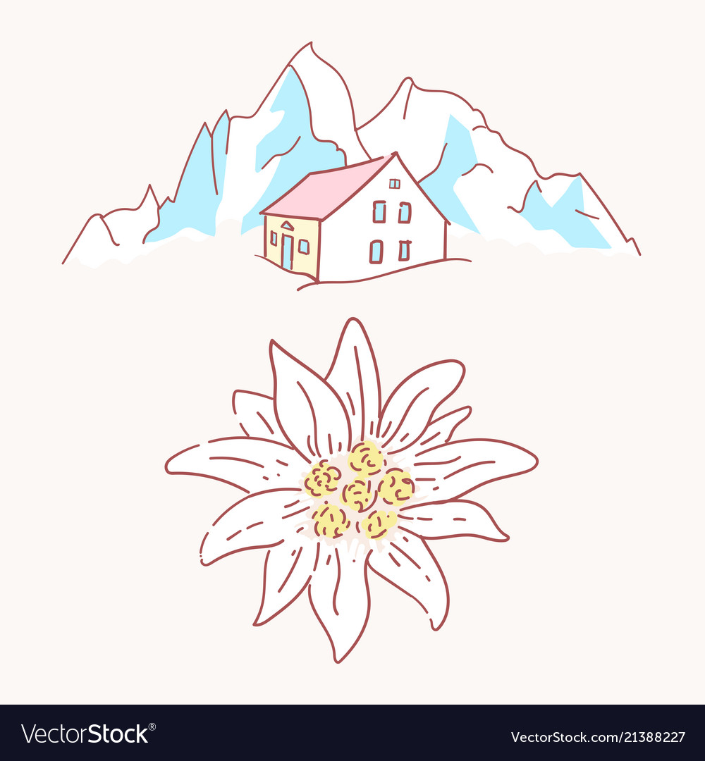 Edelweiss chalet hut cabin mountains symbol