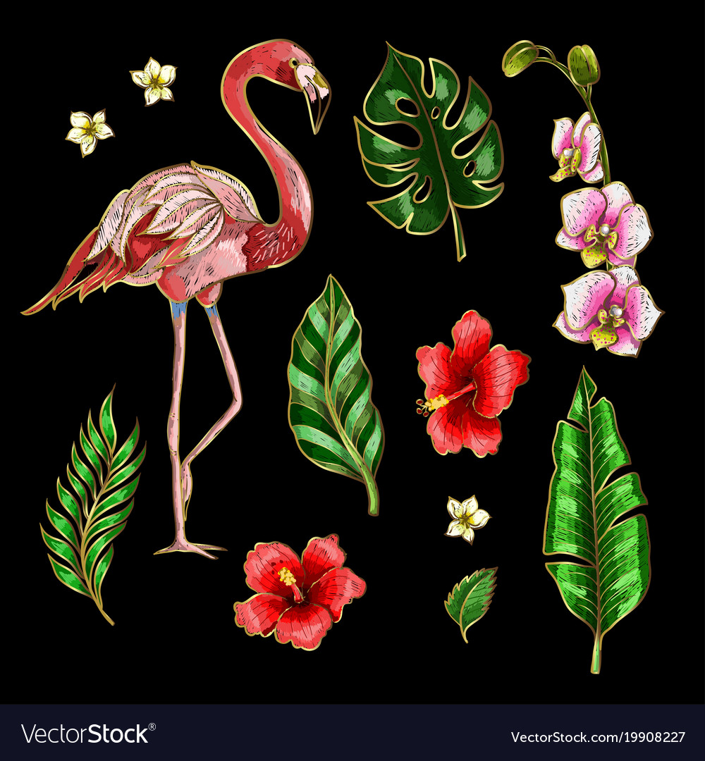 Flamingo and flowers embroidery patches