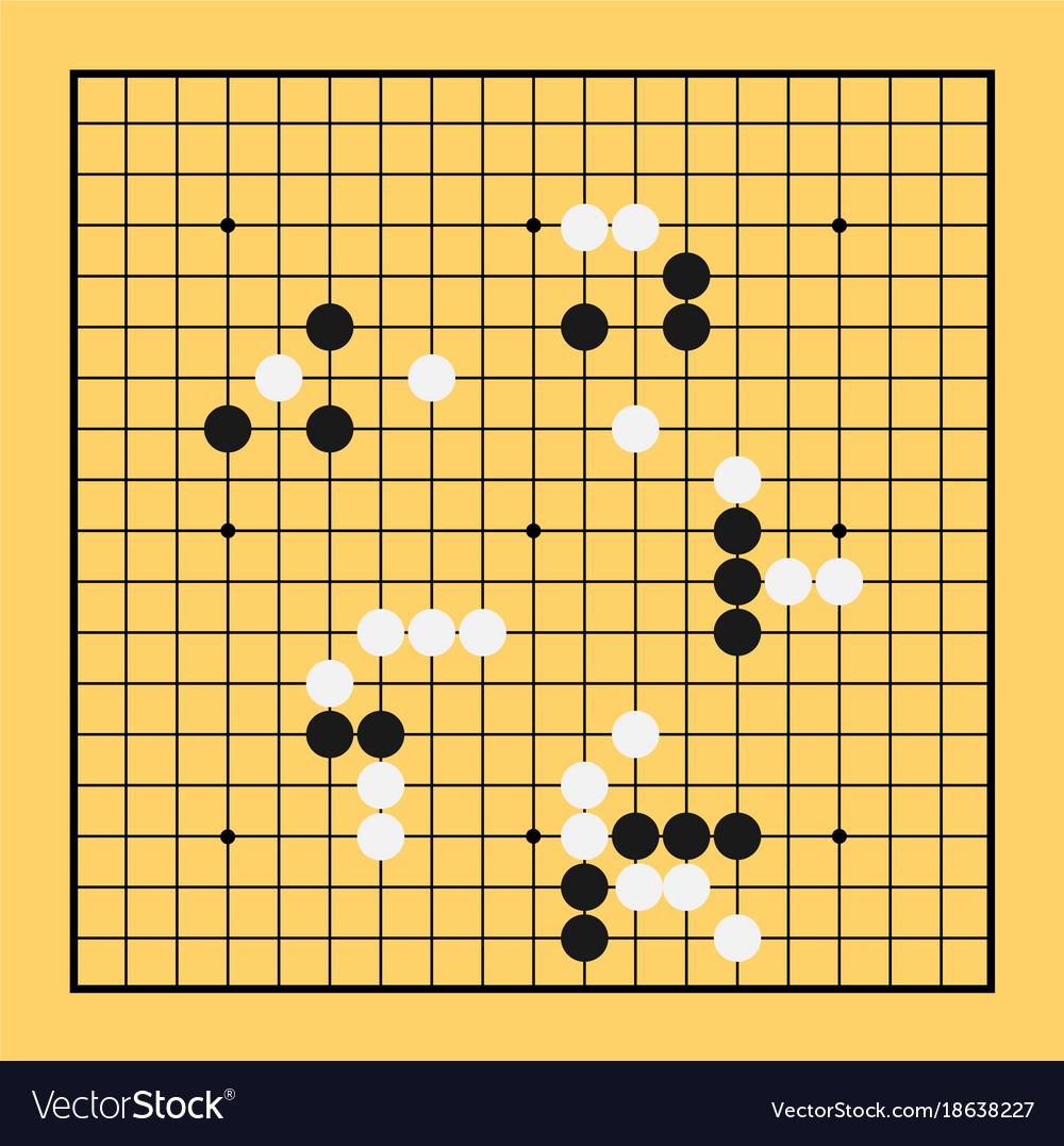Go Game Board Chinese Play China Baduk Strategy Vector Image