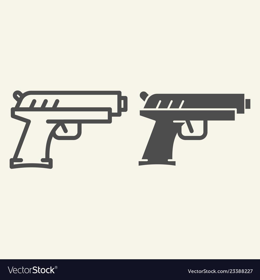 Handgun line and glyph icon pistol