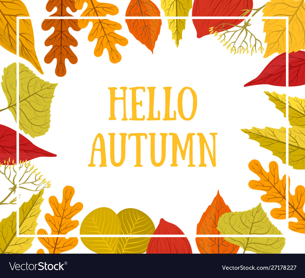 Hello autumn banner template with colorful leaves
