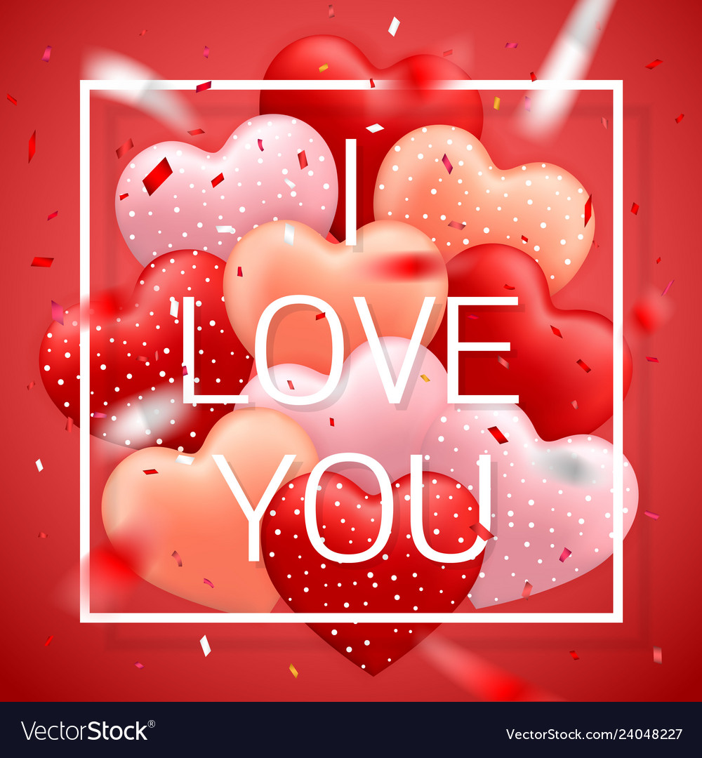 I love you happy valentines day red pink and