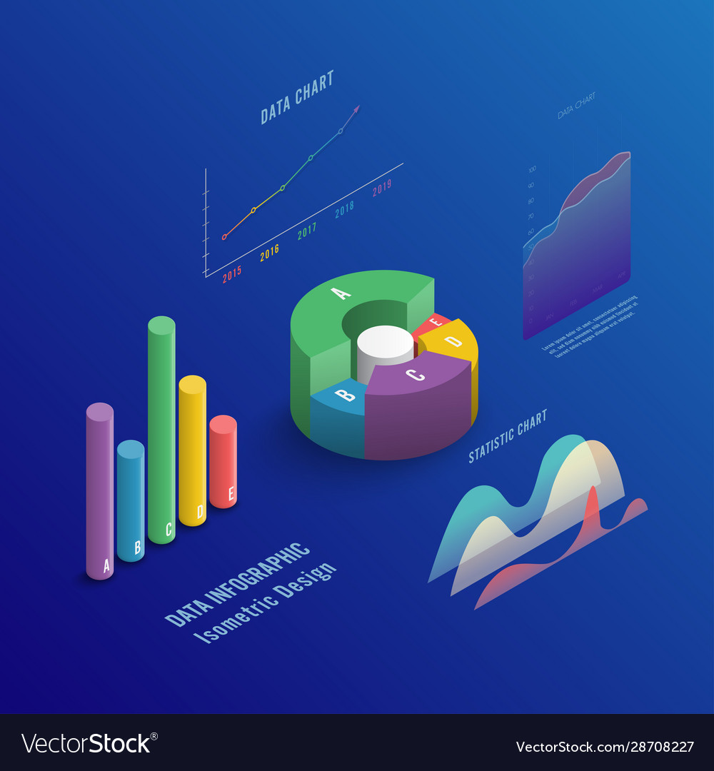 Isometric 3d business infographic with color