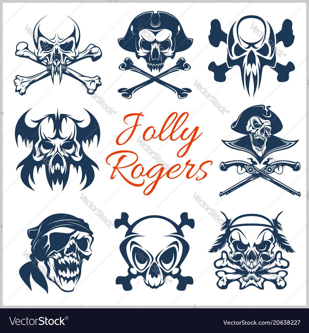 Jolly roger symbols - set on white