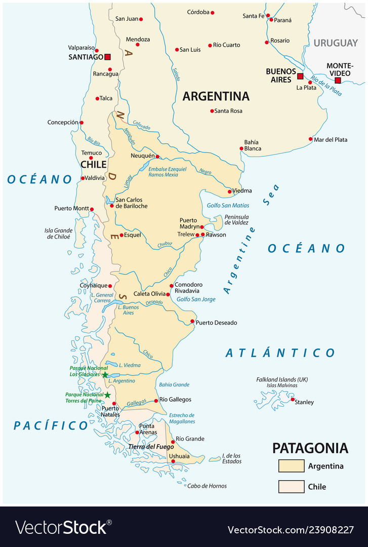 Map of patagonia the southern part of south