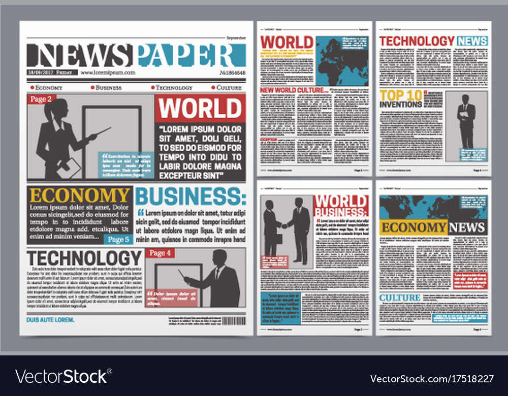 Newspaper Online Template Realistic Poster Vector Image