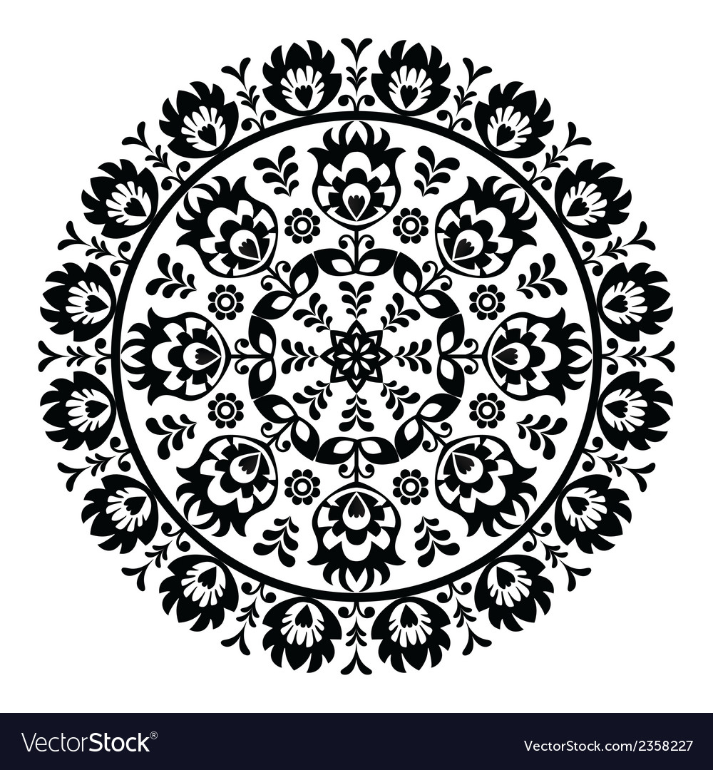 Polish folk art pattern in circle - wzory lowickie vector image