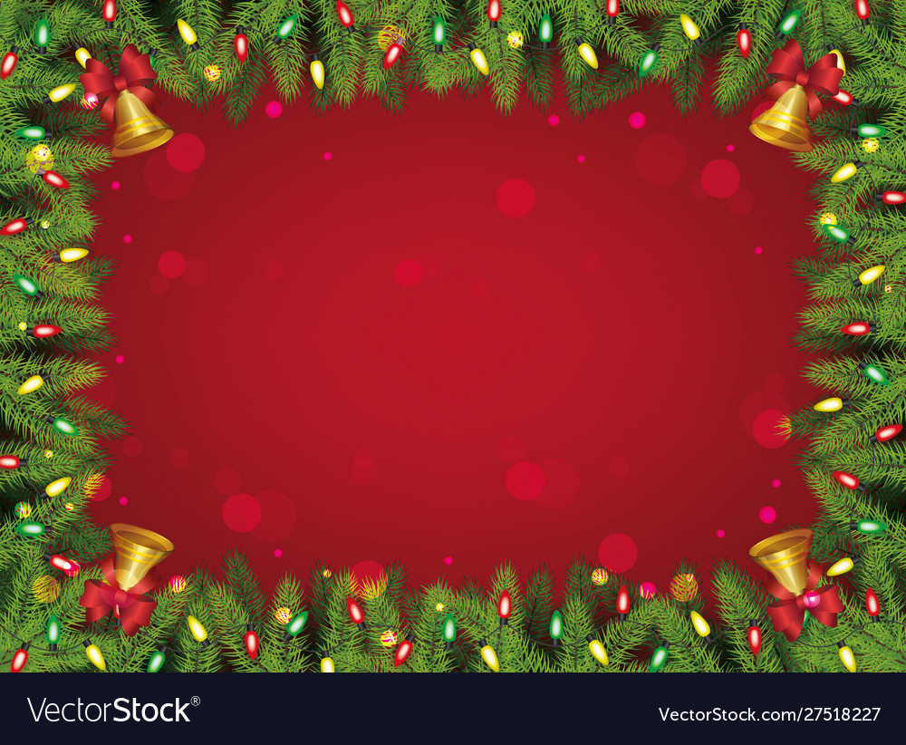 Red and green christmas background - decorated