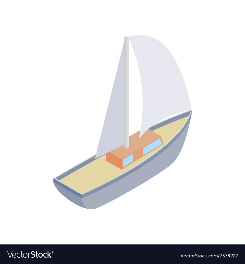 Sailing yacht race isometric 3d icon vector image