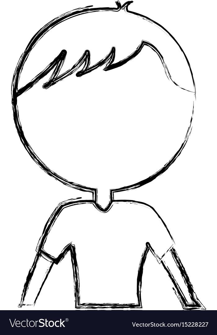 Sketch Draw Upper Body Man Cartoon Royalty Free Vector Image