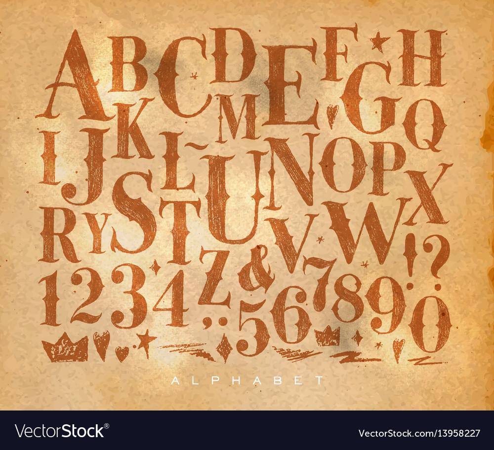 Vintage gothic alphabet craft