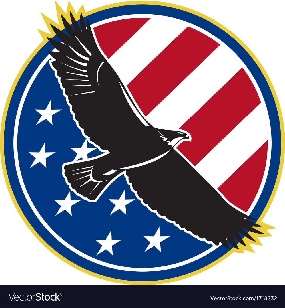 American Eagle Flying Usa Flag Retro Royalty Free Vector