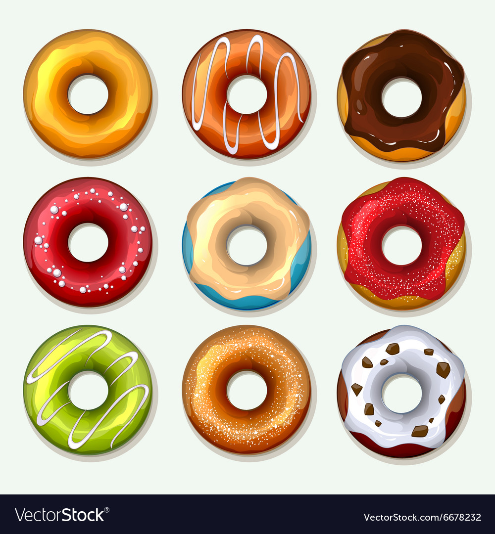 Donuts icons set in cartoon style