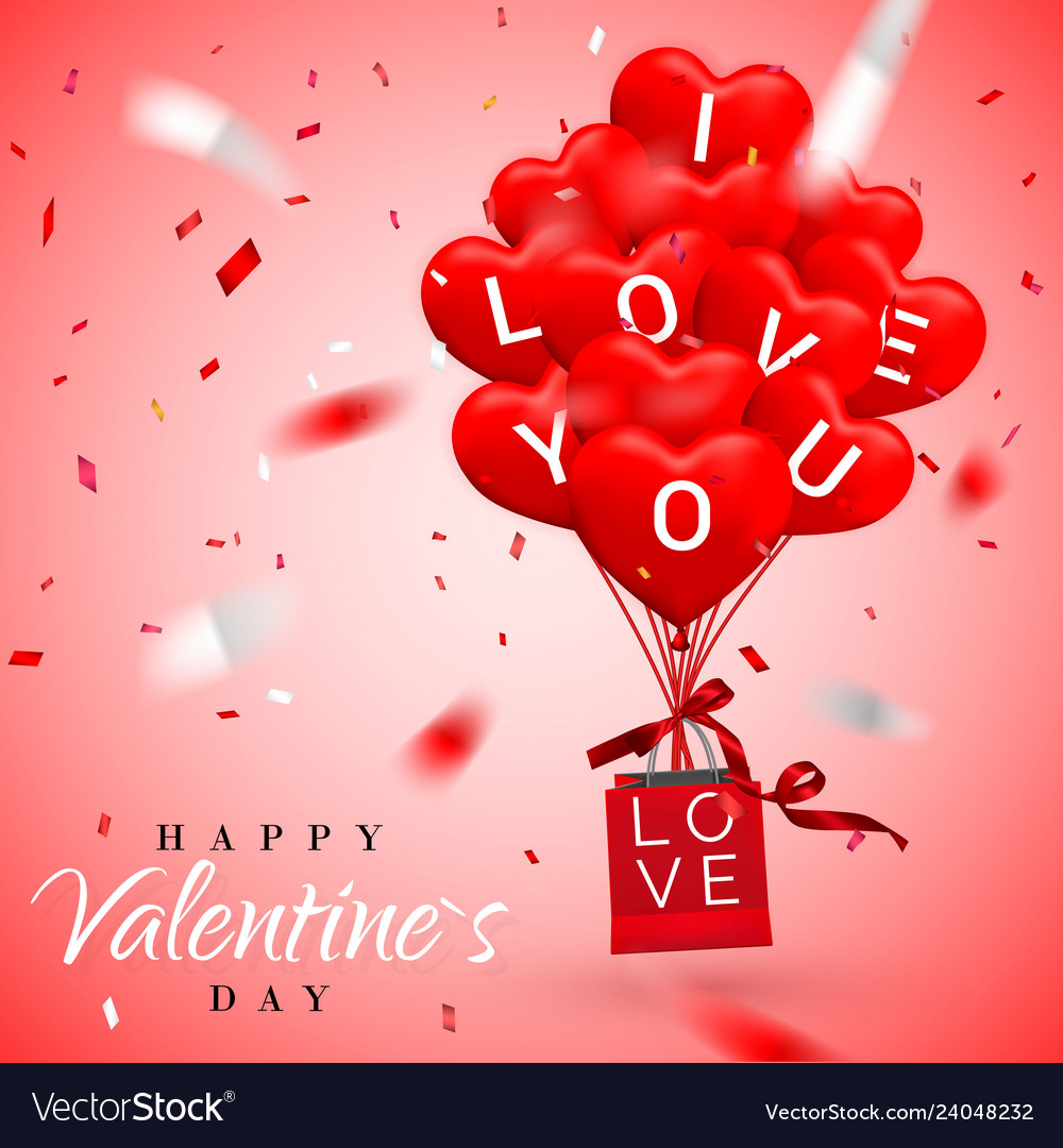 Happy valentines day background red balloon in