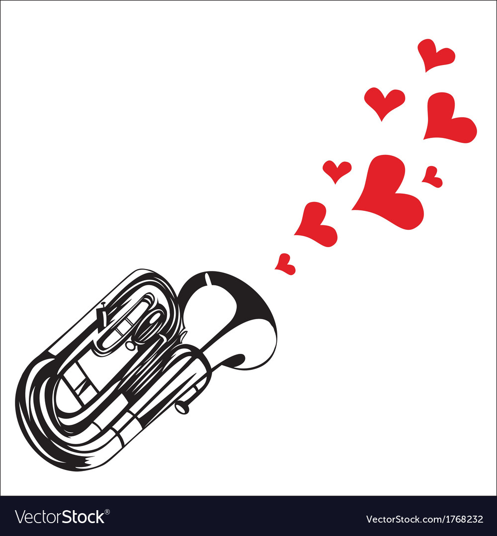 Heart love music trumpet playing a song for valent