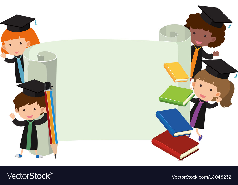 Kids in graduation gown and roll of paper Vector Image