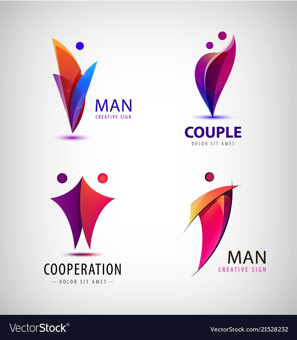 Men group logo human family teamwork