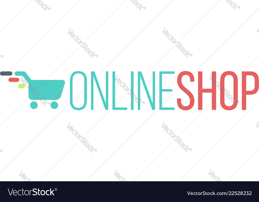 Online shop logo for internet store shopping cart