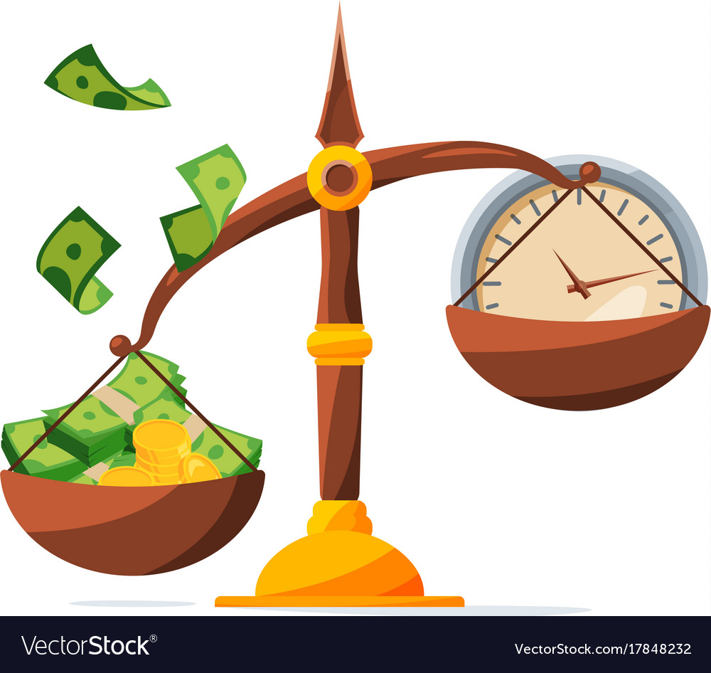 Save your money clock and money on scales vector image