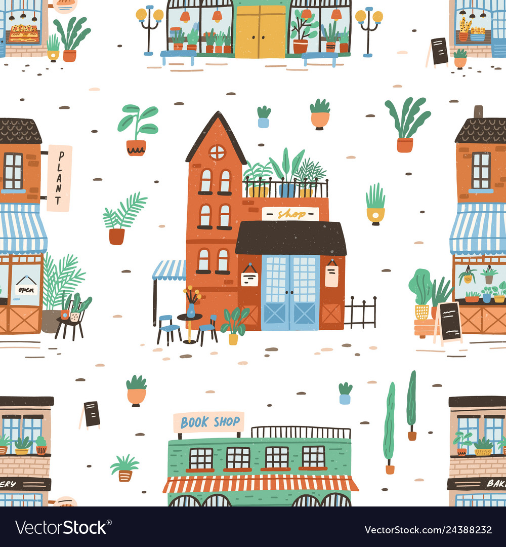 Seamless pattern with city buildings on white
