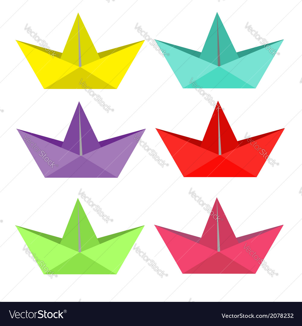 Set of bright paper ships Isolated