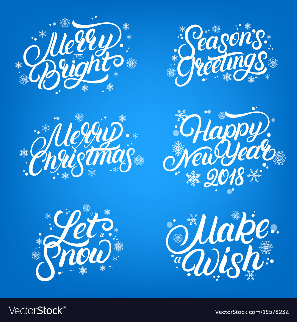 Set Of Christmas And New Year 2018 Quotes Vector Image