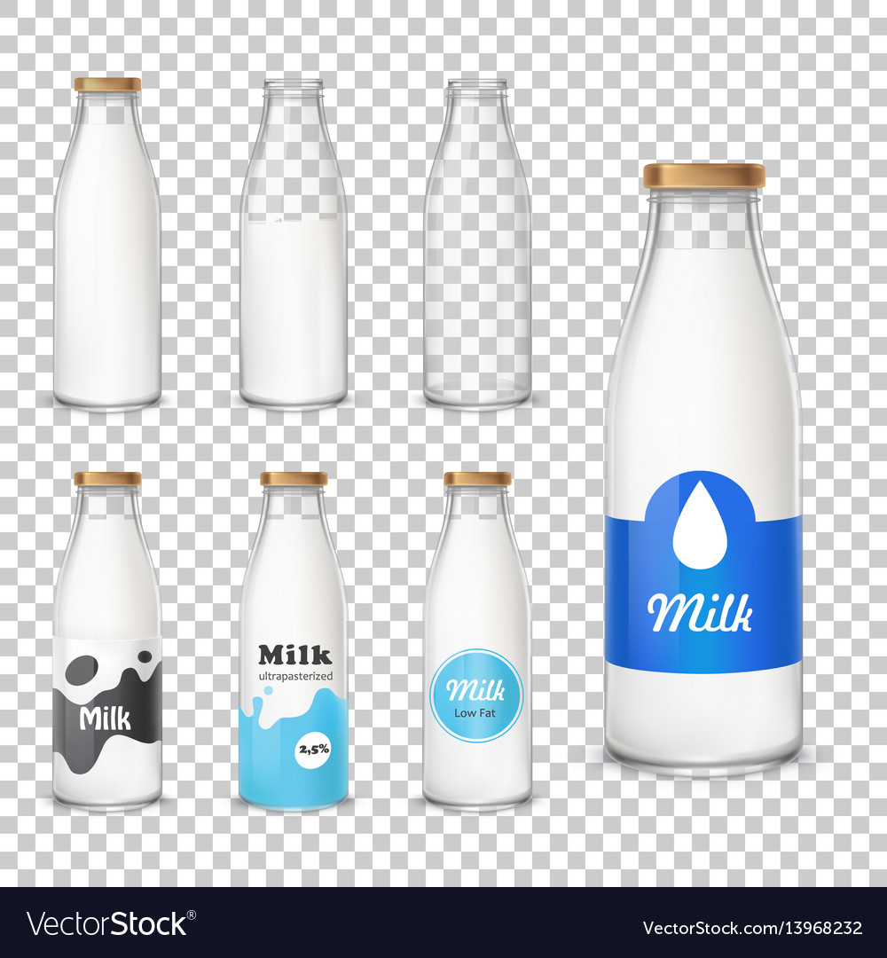 Set of icons glass bottles with a milk in a