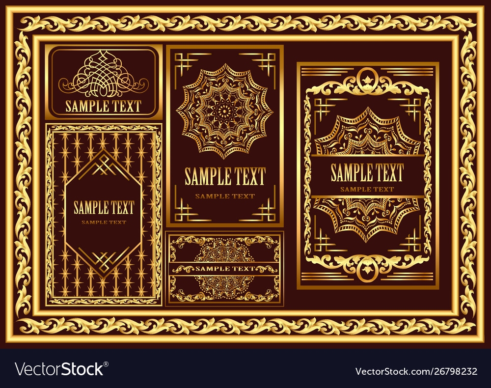 Set vintage cards and frames with gold pattern