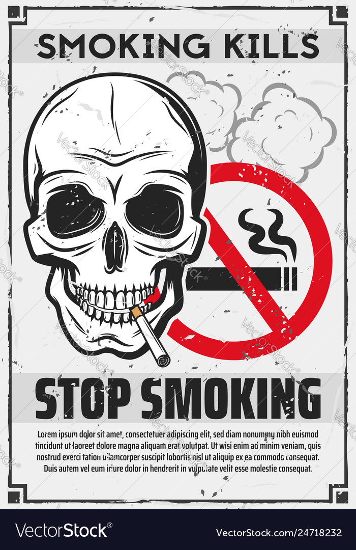 Skull with cigarette stop smoking concept