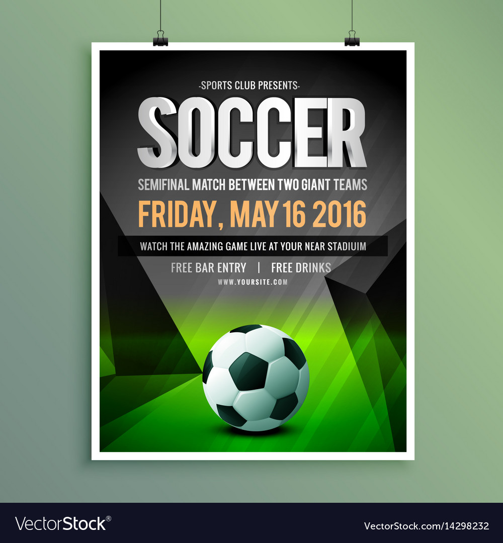 Soccer Game Flyer Template Design Royalty Free Vector Image